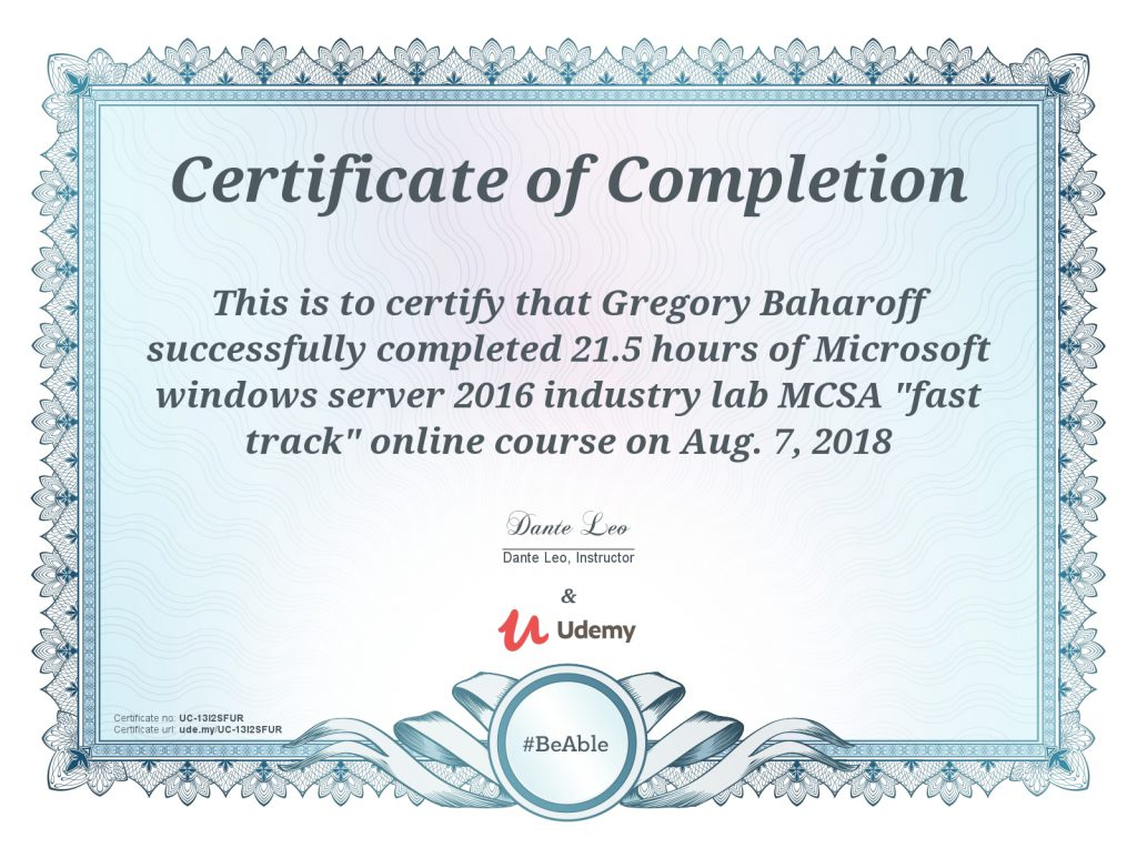 Windows 2016 MCSA fast track course Certification Greg Baharoff