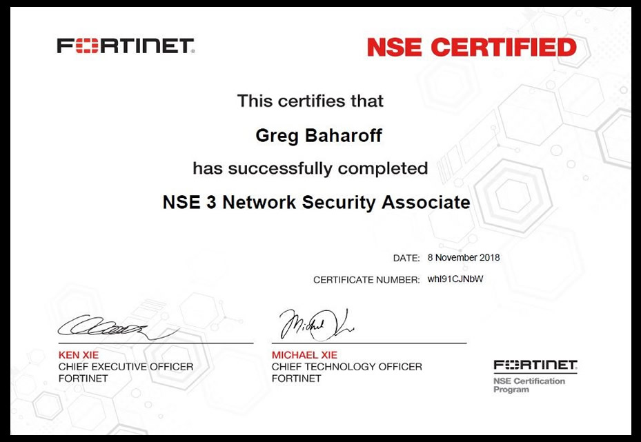 Fortinet Network Security Engineer 1-3 (NSE3) Certification
