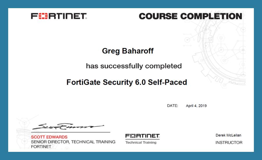 MTBW Greg Baharoff Completes Fortigate Security 6 0 Training - MTBW